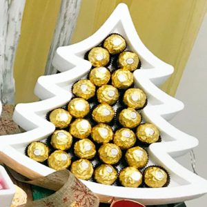 Bandeja de corcho en forma de árbol de Navidad. 33x33cm
