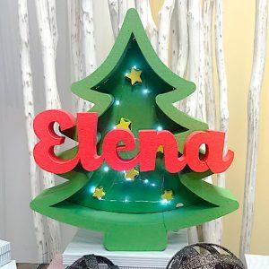 Cajón de luz árbol de navidad. Nombre personalizado 58x53cm
