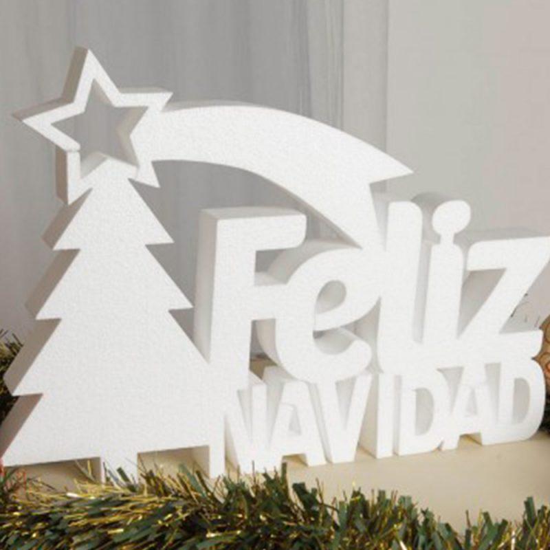Corcho blanco Feliz Navidad más árbol y estrella. 48x48cm