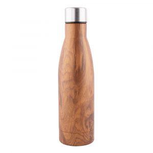 Botella H2O 500ml para regalo doble capa efecto madera. 7x26cm